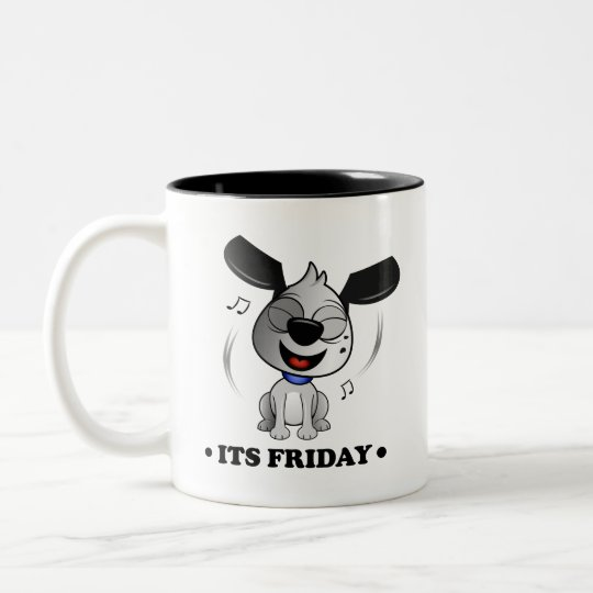 'It's Friday' Fluff Dog two tone black mug.