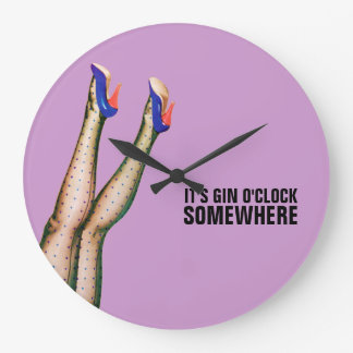 It's Gin O'Clock Somewhere Retro Wall Clock