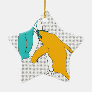 It's Just Teal and Yellow Christmas Ornament