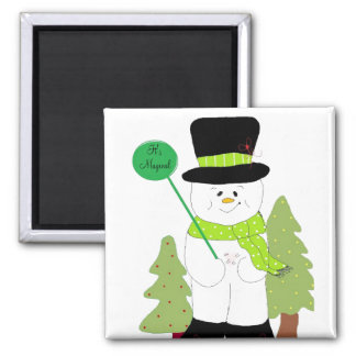 It's Magical Snowman Square Magnet