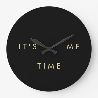It's Me Time Elegant Gold on Black Wallclocks