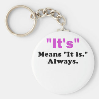 It's means It Is Always Basic Round Button Key Ring