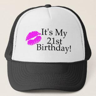 Its My 21st Birthday Kiss Trucker Hat
