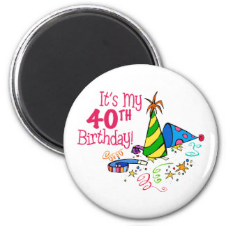 It's My 40th Birthday (Party Hats) 6 Cm Round Magnet