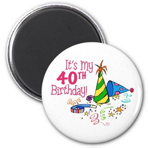 It's My 40th Birthday (Party Hats) Fridge Magnets