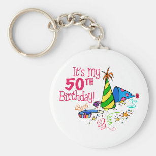 Its My 50th Birthday Party Hats Key Ring