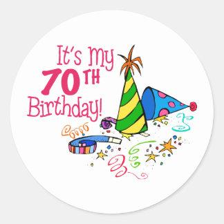 It's My 70th Birthday (Party Hats) Round Sticker