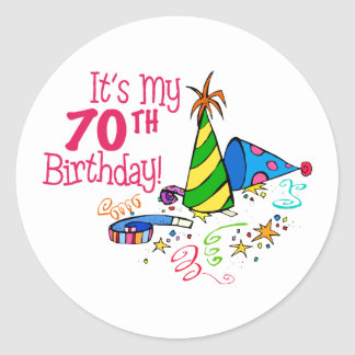 It's My 70th Birthday (Party Hats) Stickers