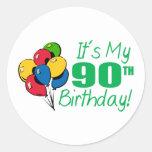 It's My 90th Birthday (Balloons) Classic Round Sticker