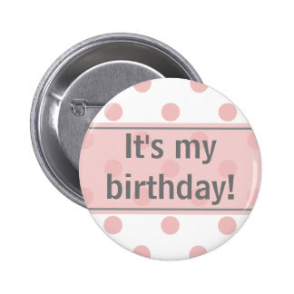 It's My Birthday Girly Polka Dots 6 Cm Round Badge