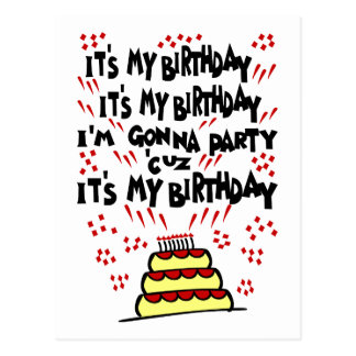 It's My Birthday, I'm Gonna Party With Funky Cake Postcard