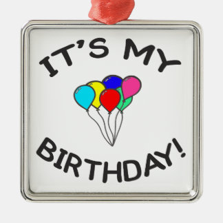 It's My Birthday! Silver-Colored Square Decoration
