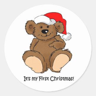 It's my First Christmas Round Sticker