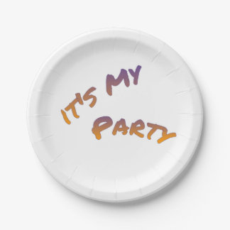 It's my Party, colorful text art Paper Plate