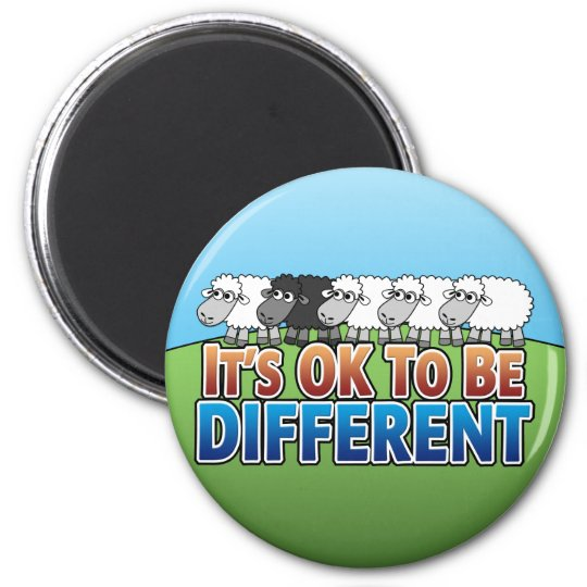 It's OK to be Different BLACK SHEEP 6 Cm Round Magnet