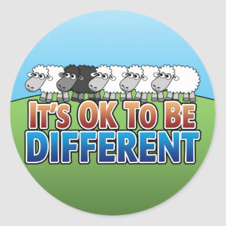 It's OK to be Different BLACK SHEEP Classic Round Sticker