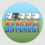 It's OK to be Different BLACK SHEEP Round Sticker