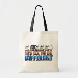 It's OK to be Different BLACK SHEEP Tote Bags