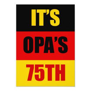 German birthday invitations zazzle its opas 75th birthday german flag invite stopboris Images