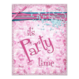 It's Party Time Fancy Pink Cupcake Invitations