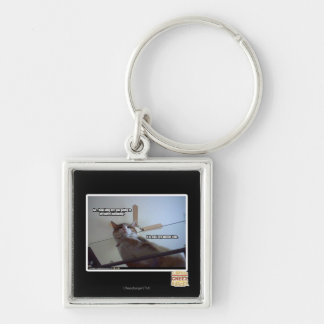 It's past my dinner time Silver-Colored square key ring