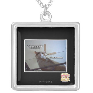 It's past my dinner time silver plated necklace