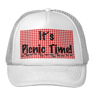 It's Picnic Time! Red Checkered Table Cloth w/Ants Trucker Hat