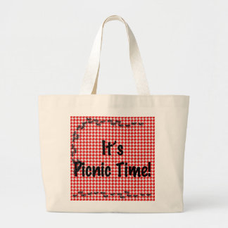 It's Picnic Time! Red Checkered Table Cloth w/Ants Jumbo Tote Bag