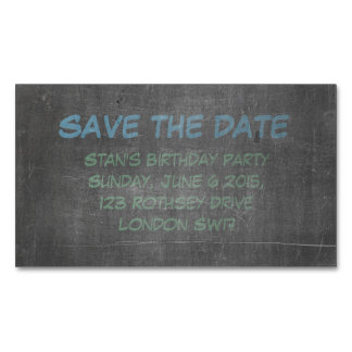 Its Real Chalkboard Birthday Save The Date Magnetic Business Cards
