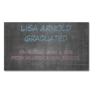 Its Real Chalkboard Graduation Announcement Magnetic Business Card