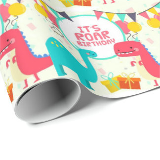 It's Roar Birthday Dinosaurs Wrapping Paper