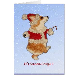 """It's Santa Corgi!"" Corgi Christmas Card"