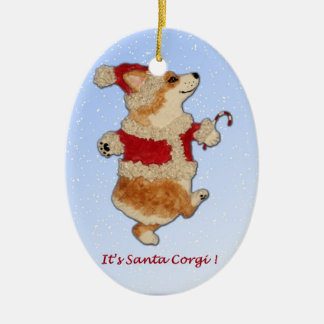 """""""It's Santa Corgi!""""  Corgi ornament"""
