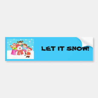 It's snow time! Merry Christmas, Kids in the snow Bumper Sticker