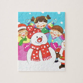It's snow time! Merry Christmas, Kids in the snow Jigsaw Puzzle