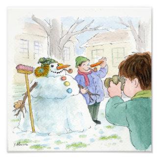 It's Snowing It's Snowing - Snowman Photo Print