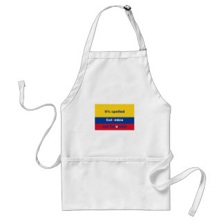 It's spelled Colombia not Columbia Standard Apron