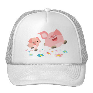It's Spring!!-Two Cute Cartoon Pigs Hat