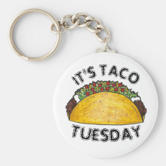 It's Taco Tuesday Mexican Food Hard Shell Tacos Key Ring
