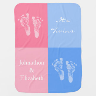 Its Twin Boy and Girl Cute Pink Baby Footprints Receiving Blankets