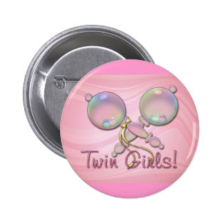 IT'S TWIN GIRLS BABY RATTLE by SHARON SHARPE 6 Cm Round Badge