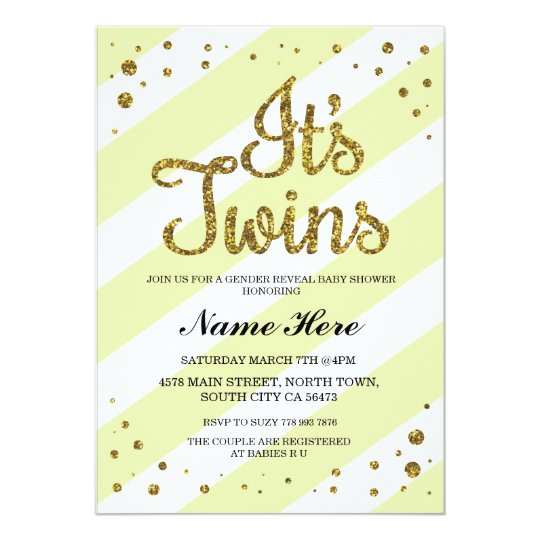 It's Twins Baby Shower Gender Reveal Yellow Invite