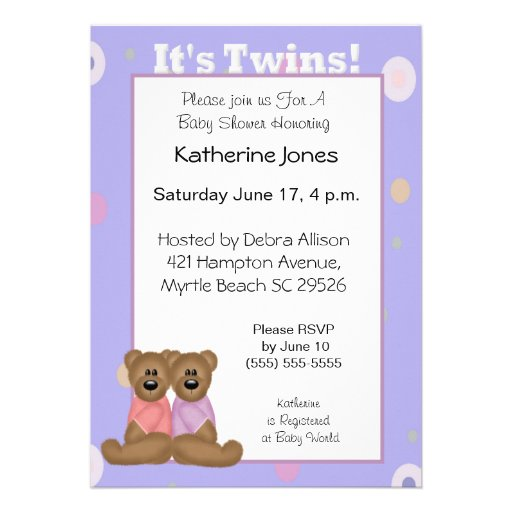 It's Twins Baby Shower Invitations