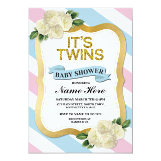 It's Twins Boy & Girl Baby Shower Pink Blue Invite