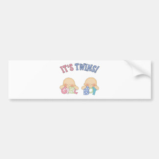 ITS TWINS (Boy Girl) Bumper Sticker