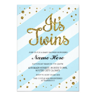 It's Twins Boys Baby Shower Blue Gold Invite