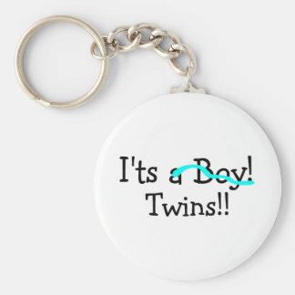 Its Twins (Boys) Basic Round Button Key Ring