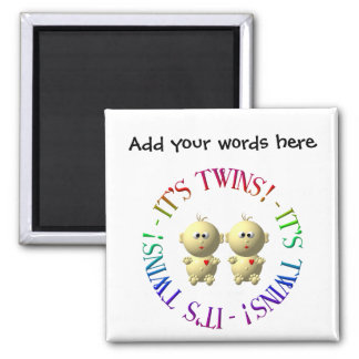 It's twins! square magnet