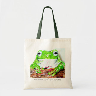 It's what's inside that matters tree frog tote bag