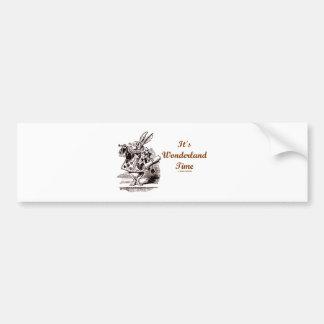 It's Wonderland Time White Rabbit With Trumpet Bumper Sticker